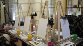 Professional art school for children. Children`s school of development and creativity. Many easel tables stock video footage
