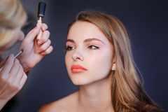 Professional  artist applying makeup. Royalty Free Stock Images