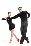 Professional artists dancing over white Stock Photos
