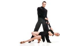 Professional artists dancing over white Stock Photography