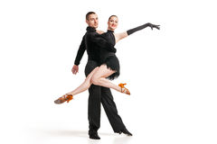 Professional artists dancing over white Royalty Free Stock Photography