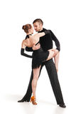 Professional artists dancing over white Royalty Free Stock Photos