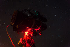 Professional astrophotography telescope equipped with guider scope and astro camera Royalty Free Stock Photo