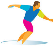 Professional athlete is a disk thrower. An experienced professional athlete is a disk thrower Stock Image
