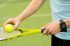 Professional athlete playing tennis in stadium Royalty Free Stock Photography