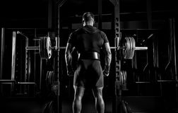 Professional athlete stands in front of the bars with a barbell. And is about to crouch with her. Back view royalty free stock photos
