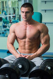 A professional athlete trains in the gym Royalty Free Stock Image