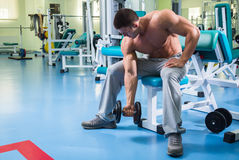 A professional athlete trains in the gym stock images
