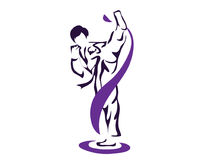 Professional Athlete Warming Up Pose Taekwondo Athlete In Action Logo Stock Photo