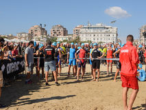 Professional athletes on the starting line at Ironman 70.3 Pescara of June 18; 2017. Pescara; Italy - June 18; 2017: Professional athletes on the starting line royalty free stock images