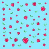 Hot Red Strawberries and green leaves royalty free illustration