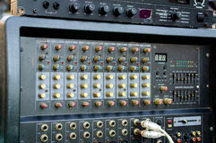 Professional Audio dj mixer console, sound tools and gear, studio equipment picture.  Stock Images