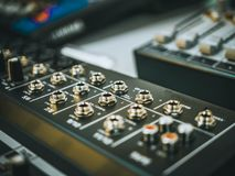 Professional audio equipment for sound recording studio. Faders volume regulators Stock Images