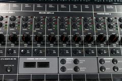 professional audio mixer and amplifier with different knobs for royalty free stock photo