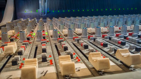 Professional audio mixing console with faders in recording studi Royalty Free Stock Photos