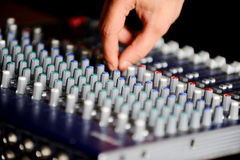 Professional audio mixing console Stock Images