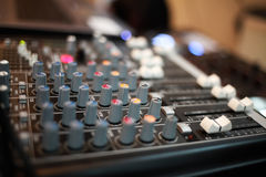 Professional audio mixing sound console Royalty Free Stock Images