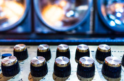 Professional audio sound equipment with buttons and sliders Stock Image