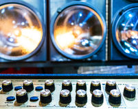 Professional audio sound equipment with buttons and sliders Royalty Free Stock Photos