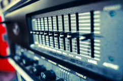 Professional audio sound equipment with buttons and sliders Stock Photo