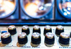 Professional audio sound equipment with buttons and sliders Royalty Free Stock Image