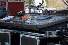 Professional Audio Sound Mixer Music Control. Electronic Device in Outdoor Concert royalty free stock photography