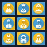 Professional avatar icons set. Avatar profile portraits flat icons set of pilot assistant clerk doctor isolated vector illustration heads Royalty Free Stock Photos