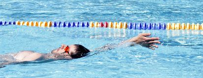 Professional Backstroke Swimmer Stock Image
