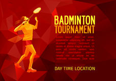 Professional badminton player banner template Stock Image