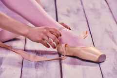 Professional ballerina putting on her ballet shoes Stock Image