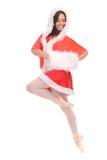 Professional ballerina tiptoe in Christmas dress Stock Photo