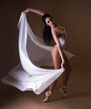 Professional ballet dancer with white material. Professional ballet dancer dancing with white material stock images