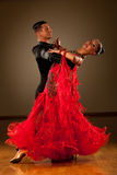 Professional ballroom dance couple preform an exhibition dance Royalty Free Stock Photos