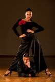 Professional ballroom dance couple preform an exhibition dance Royalty Free Stock Photo