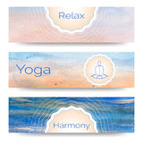 Professional banner templates or banner design for yoga studio Royalty Free Stock Photo