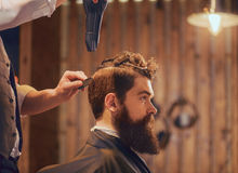 Professional barber styling hair of his client Stock Photos