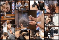 Professional barber working with client in hairdressing salon. Set of services stock photos