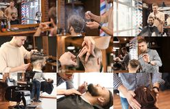 Professional barber working with client in hairdressing salon. Set of services stock images