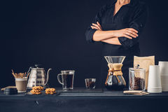 Professional barista preparing coffee. Alternative method stock images