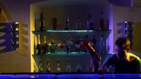 Professional barman making cool, amazing tricks stock footage