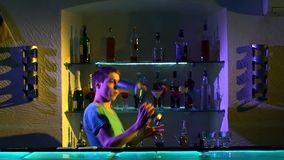 Professional barman making cool, amazing tricks stock video