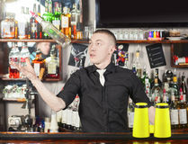 Professional barmen making cocktail Royalty Free Stock Photography