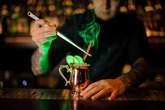 Professional bartender adding to a cocktail with dried orange a smoked cinnamon with tweezers. Professional bartender adding to a cocktail in the cooper glass stock photos