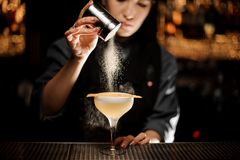 Professional bartender girl holding a spice shaker adding to a delicious cocktail flavours. On the bar counter in the blurred background stock image