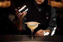 Professional bartender girl holding a spice shaker adding to a delicious cocktail. On the bar counter in the blurred background stock photography