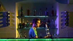Professional bartender making cool, amazing tricks stock video