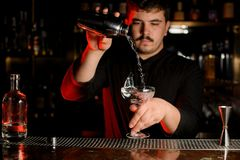 Professional bartender pouring a transparent alcohol into the glass from the steel shaker royalty free stock images