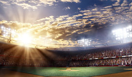 Professional baseball arena grande, sunset view, 3d rendering. Professional baseball grand arena in light rays stock illustration