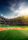 Professional baseball grand arena in sunlight Royalty Free Stock Photo