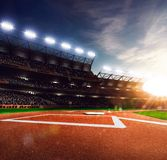 Professional baseball grand arena in sunlight Royalty Free Stock Photography